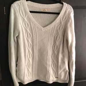 White Cable Knit Hollister Sweater